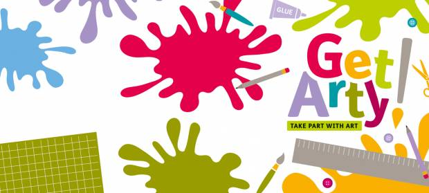"Cartoon image with colourful splashes of paint, art supplies and text that reads ""Get Arty! Take part with art""."